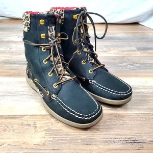 Sperry Top sider lace up leopard boot 10